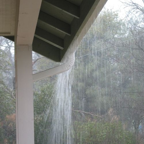 Gutters Pouring Water
